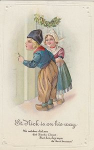CHRISTMAS , 1900-10s ; 2 kids opening door