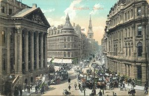 Postcard British England London cheap side street square towers architecture art