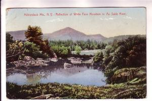 Reflection of White Face Mountain, Sable River, Adirondacks, New York, Flag C...