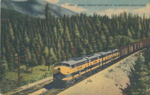 Four Diesel Freight Motors hauling Freight Trains over Continental Divide Linen