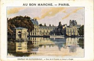 CPA Chateau de FONTAINEBLEAU - Cour de la Fontaine et Étang d.s Carpes (436487)