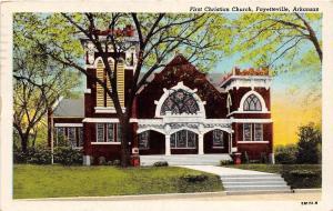C66/ Fayetteville Arkansas AR Postcard 1950 First Christian Church Building