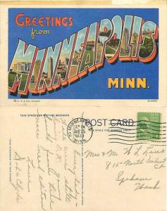 Greetings from MINNEAPOLIS, Minnesota, MN, Large Letters,1938 Linen