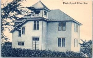 Falun, Kansas Postcard PUBLIC SCHOOL Building View c1910s UNUSED