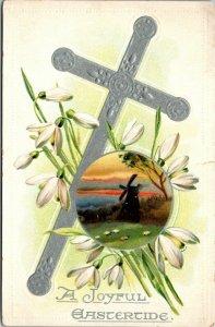 A JOYFUL EASTERTIDE - 1909 * Tuck's Postcard * Holy Cross * Lillies * Saxony