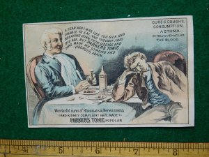 1870s-80s Parker's Tonic Hair Balsam Men at Dinner Victorian Trade Card F33