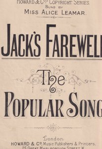 Jacks Farewell Alice Leamer Sailor Ship Antique Olde Sheet Music