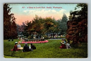 Seattle WA-Washington Leschi Park Scene, Victorian Visitors, Vintage Postcard