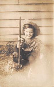 Bluffton Ohio~Farm Boy Glen~Toy Studebaker Wagon~Mom Bertha Divelbiss~1908 RPPC