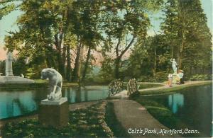 Hartford, Connecticut Colt's Park, Statues, Water, Bridge 1910 Postcard