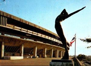 Japan Tokyo National Stadium Promenade and Its Bronze Statue