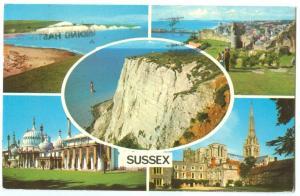 UK, Sussex multi view, used Postcard