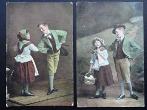 Ireland 2 x IRISH BOY & GIRL in National Costum inc DANCE c1907 Postcard