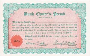 Humour Bunk Chuter's Permit Card
