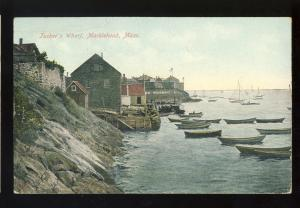 Marblehead, Massachusetts/MA/Mass Postcard, Tucker's Wharf, 1908!