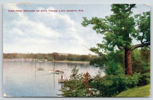 Lake Geneva Wisconsin~View of Dock from Otto Young Grounds~1908 VO Hammon PC