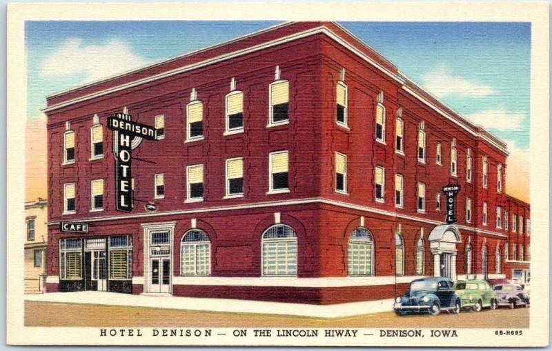 Denison Iowa Postcard Hotel Lincoln Highway 30 Roadside Curteich Linen