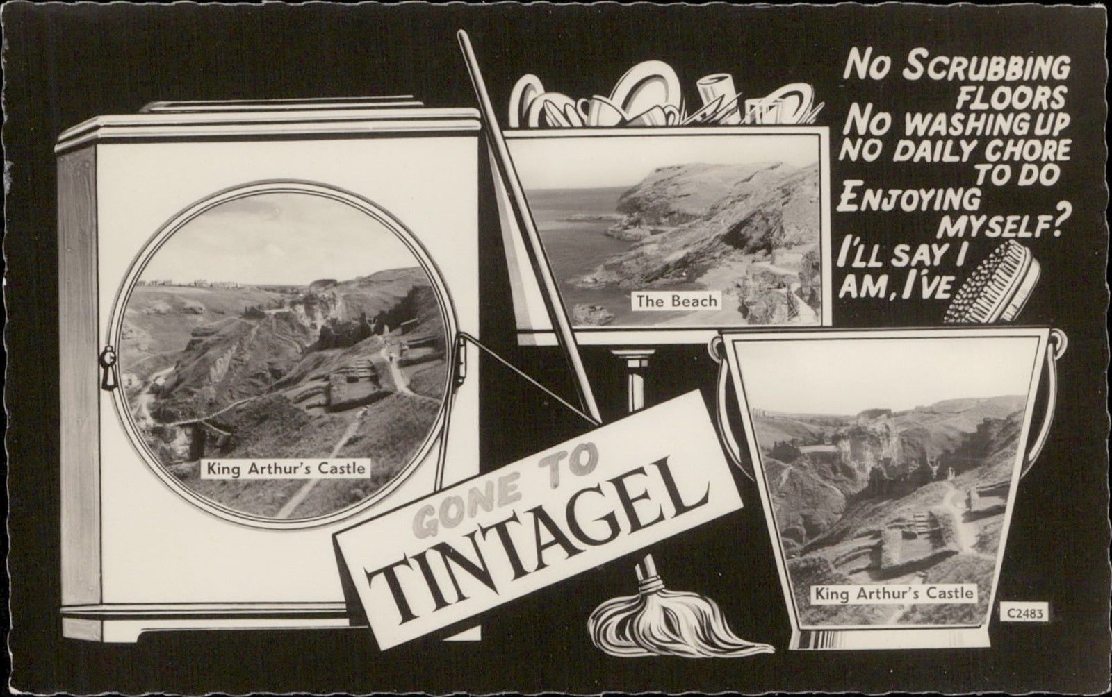 Gone to Taintagel multi view comic UK / HipPostcard