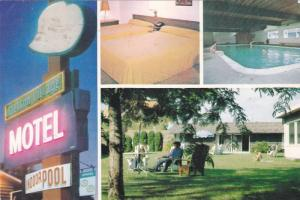 Indoor Swimming Pool, Neon Sign, Stetson Village Motel, Kelowna, British Colu...