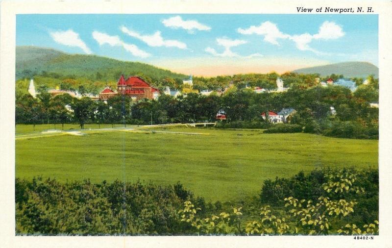 Newport New Hampshire~Town Panorama Across Field~Bridge~1940s Linen Postcard