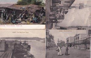 Suez The Governorat Native Street Tent Quay 4x Old Egypt Postcard s
