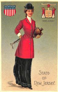 Langsdorf State of New Jersey Beautiful Multi Color Woman State Seal Postcard