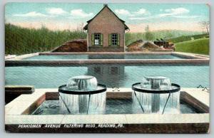 Reading PA~Perkiomen Avenue Reservoir~Filtering Beds Close Up~1908 Langsdorf PC