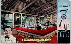 Hollywood, California Postcard Bob Brooks' 7-SEAS Bar Nightclub Linen 1940