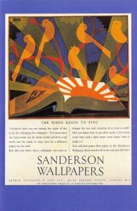 Nostalgia Postcard 1930 Art Deco Style Advert for Sanderson Wallpapers Repro NS9