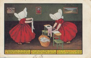 DIXON ;  Sunbonnet Girls  , Ironing Clothes , 1908