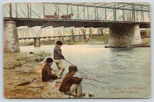 Logansport Indiana~Boys Fish From Bank~Wabash River Wagon Bridge~Close Up~1911