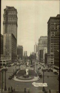 Detroit MI Washington Blvd c1920s Real Photo Postcard