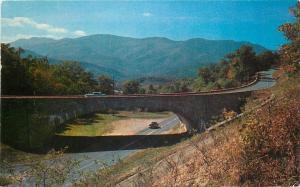 Buck Creek Gap North Carolina~Cars on Blue Ridge Parkway Bridge~Mt Mitchell~1960