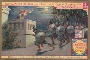 Liebig Vintage Trade Card S858 Samson &  Delilah No 4 Verrath