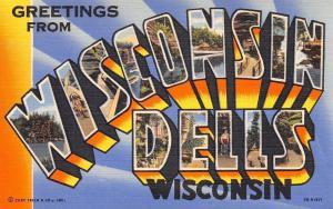 Wisconsin Dells~Large Letter Linen Postcard~Indians~Bluffs~1947 Curt Teich