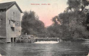 Sparta Wisconsin~River Scene~Mill Dam Bridge~Girl on Platform~Picnic~1909