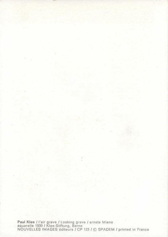 Postcard artist signed painting Paul Klee looking grave