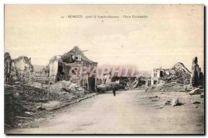 Old Postcard Moreuil after the bombing Place Parmentier