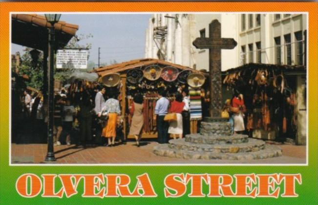California Los Angeles Olvera Street Wooden Cross and Markets