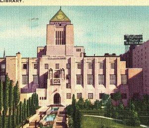1938 Los Angeles Public Library California Postcard Standard View Card