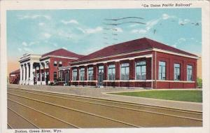 On Union Pacific Railroad Station Green River Wyoming 1945
