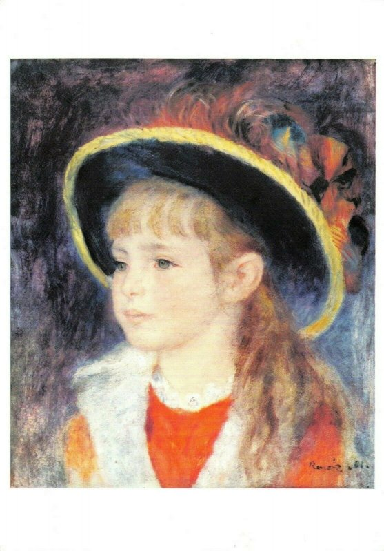 Art Postcard, Young Girl with a blue hat (1881) by Auguste Renoir BO3