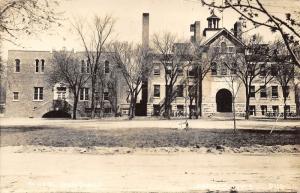 Sumner Iowa~School Buildings~Full Bicycle Racks in Front~Bell Tower~1940s RPPC