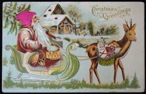 Christmas Santa Claus Silk Hat Sleigh Drum 1909 Embossed Postcard