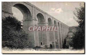Old Postcard Morlaix Perspective view of the viaduct