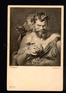 041547 Two FAUNS Satyrs by RUBENS vintage PC
