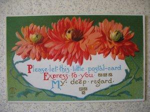 1910 FLORAL POSTAL-CARD greeting; embossed; unmailed