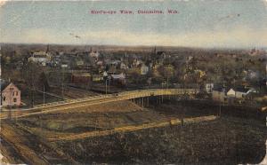 Columbus Wisconsin~Bird's Eye View Overlooking Town~Bridge in Foreground~1910 Pc