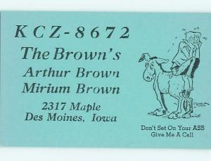 horse - QSL CB HAM RADIO CARD Des Moines Iowa IA t9887