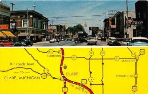 Michigan Clare ,  Business District and Map